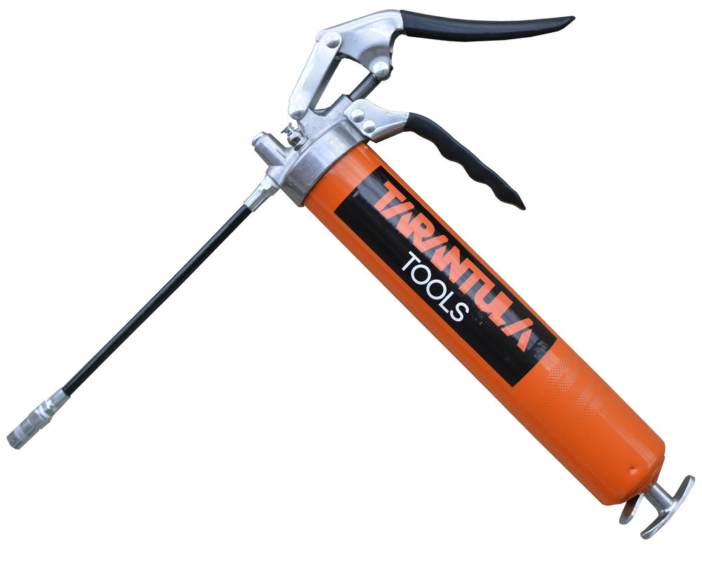 Heavy Duty Grease Gun -  Tarantula Tools  Our Heavy Duty grease Gun is constructed with a die cast head capable of 4,500 PSI and a steel grease canister making this unit extremely durable.
