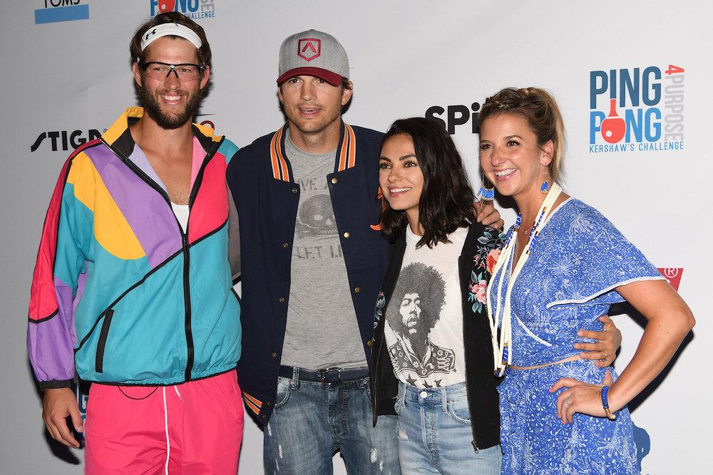 Ashton Kutcher and Mila Kunis with Clayton and Ellen