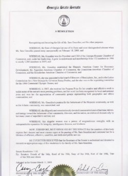State of Georgia Senate Resolution 1102 honoring the contributions of Sara J. González.