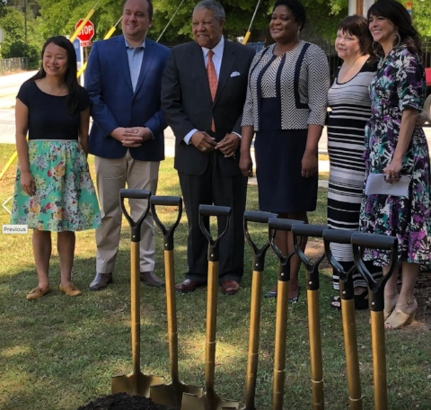 Groundbreaking May 2018 with City of Atlanta Park Commissioner Amy Phuong, District 9 Councilmember Dustin Hillis, Fulton County Commissioner Robb Pitts, Atlanta City Council President Felicia A. Moore, Park Pride Assoc. Director Allison Barnett, Isabel González Whitaker