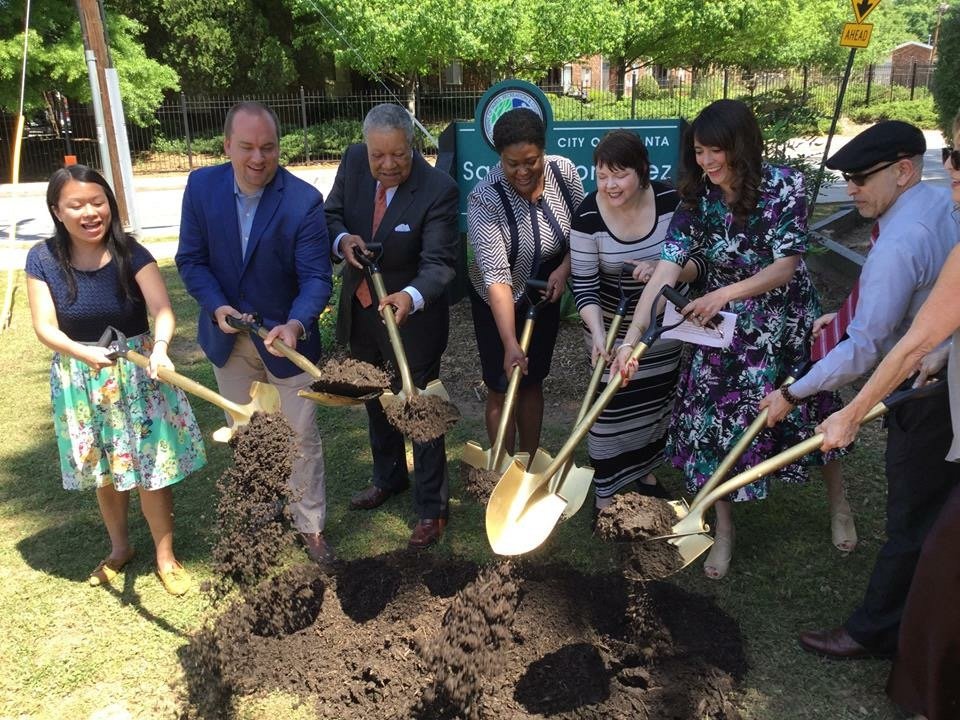 The park's groundbreaking took place May 2018 and saw neighbors, community leaders and media attend. (L-R) City of Atlanta Parks Commissioner Amy Phuong; District 9 Councilmember Dustin Hillis; Fulton County Commissioner Robb Pitts; Atlanta City Council President Felicia A. Moore; Park Pride Associate Director Allison Barnett; Park Steward Isabel González Whitaker; Vice President, Global Commerce Metro Atlanta Chamber; CEO Dance 101 Ofelia de La Valette