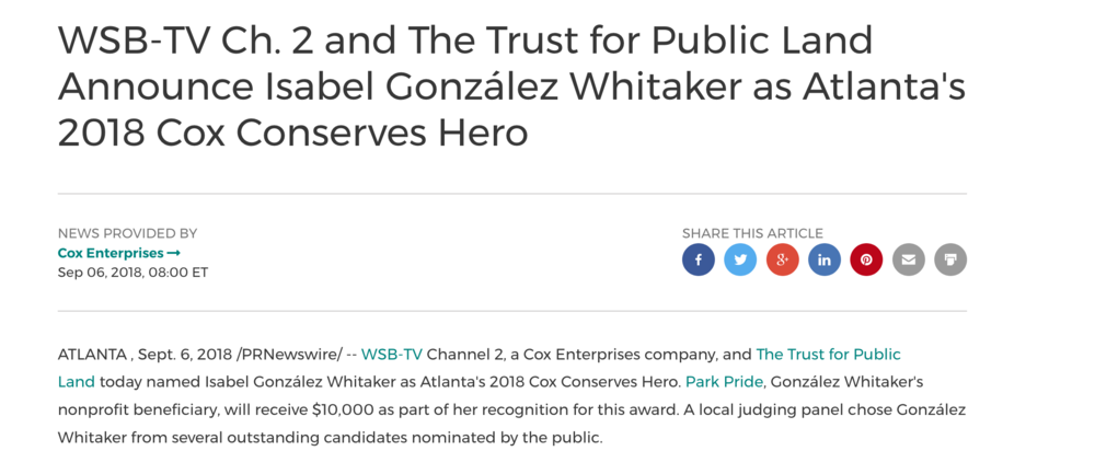 Cox Enterprises and Trust for Public Land announce Sara J. González Park steward Isabel González Whitaker 2018 Cox Conserves Hero , September, 2018