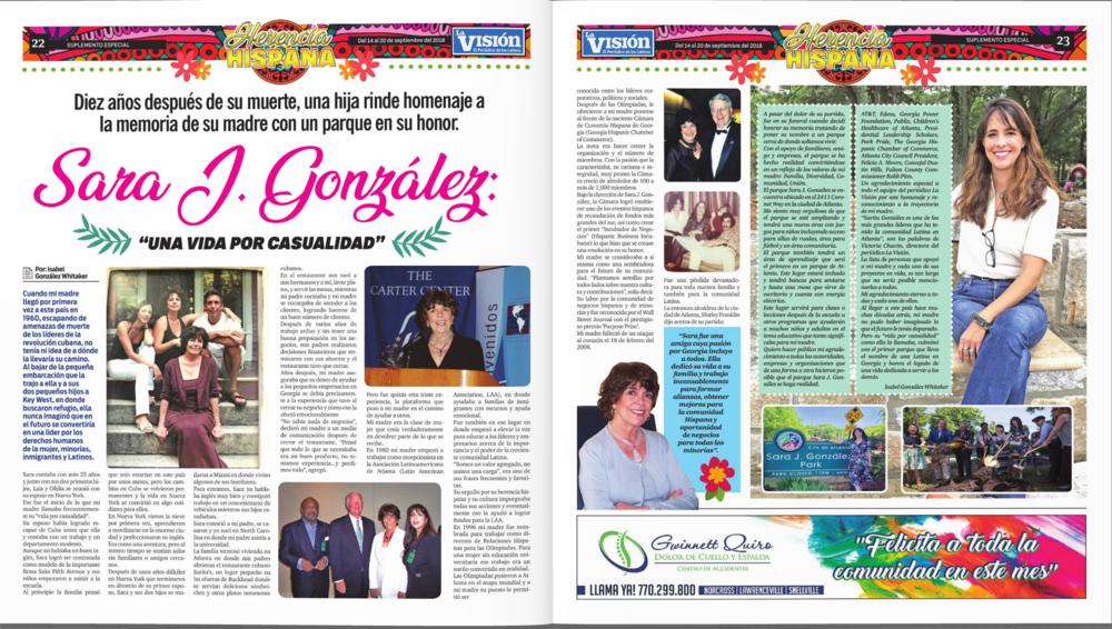 Una Vida Por Casualidad,  September 14, 2018, La Vision Newspaper