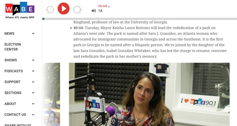 Closer Look with Rose Scott radio segment, WABE/NPR, 10/8/18