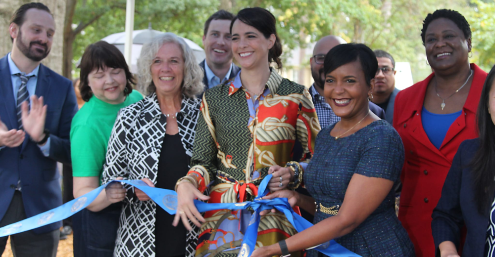 Instead of a ribbon cutting, a ribbon tying event was held on October 9th, 2018, to honor the park's theme of inclusion. Seen here, left to right, are Atlanta City Planner Daniel Calvert; Park Pride Associate Director Allison Barnett; Vice President Cox Enterprises Melody Darch; Senior Vice President for EDENS, Herbert Ames; Park Founder and Steward, Isabel González Whitaker; Atlanta Mayor Keisha Lance Bottoms; Atlanta City Council President Felicia A. Moore. Photo: Samantha Diaz Roberts