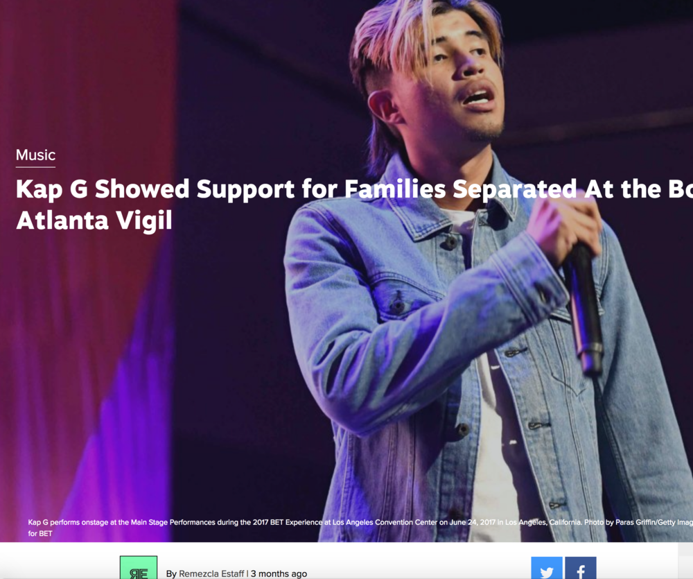 Kap G attends Atlanta vigil at Sara J. González Park, July, 2018 , Remezcla.com