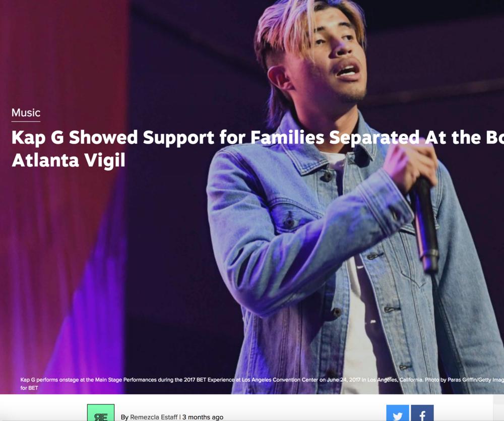Kap G attends Atlanta vigil at Sara J. González Park, July, 2018 , Remezcla.com