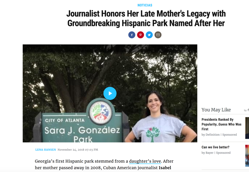 Journalist Honors Her Late Mother's Legacy with Groundbreaking Hispanic Park , November, 2018, People en Español