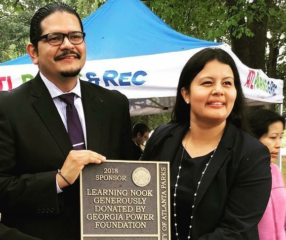 Georgia Power Foundation's Misty Fernandez, right, with teacher José Osorio who inspired the idea for the Learning Nook.