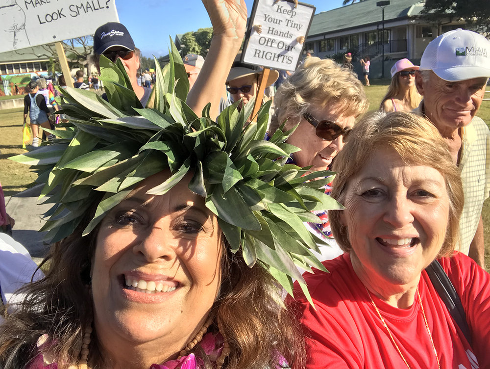 At women's March with kahu Alalani Hill.  (January 20, 2018)