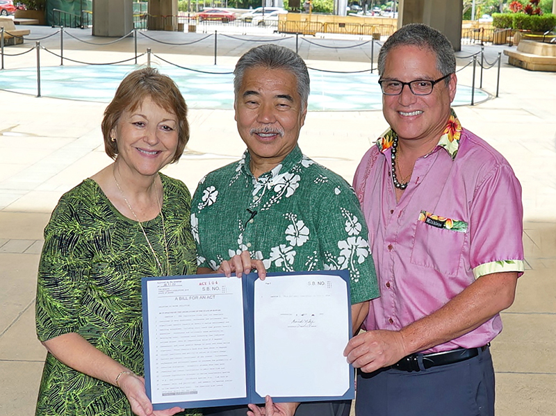 Governor David Ige signed SB2571 into law as Act 104 which bans the sale of products containing oxybenzone or octinoxate in order to preserve marine ecosystems.  (July 3, 2018)