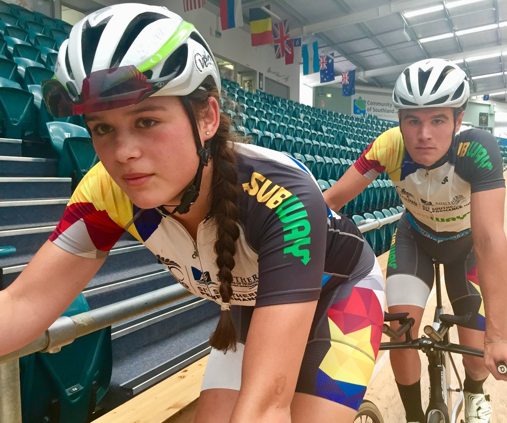 Cycling NZ Southern Performance Hub riders Helena Rikiti and Hamish Keast prepare for some last-minute training ahead of the ILT New Track Carnival to be held at the SIT Zero Fees Velodrome in Invercargill on Friday and Saturday nights.