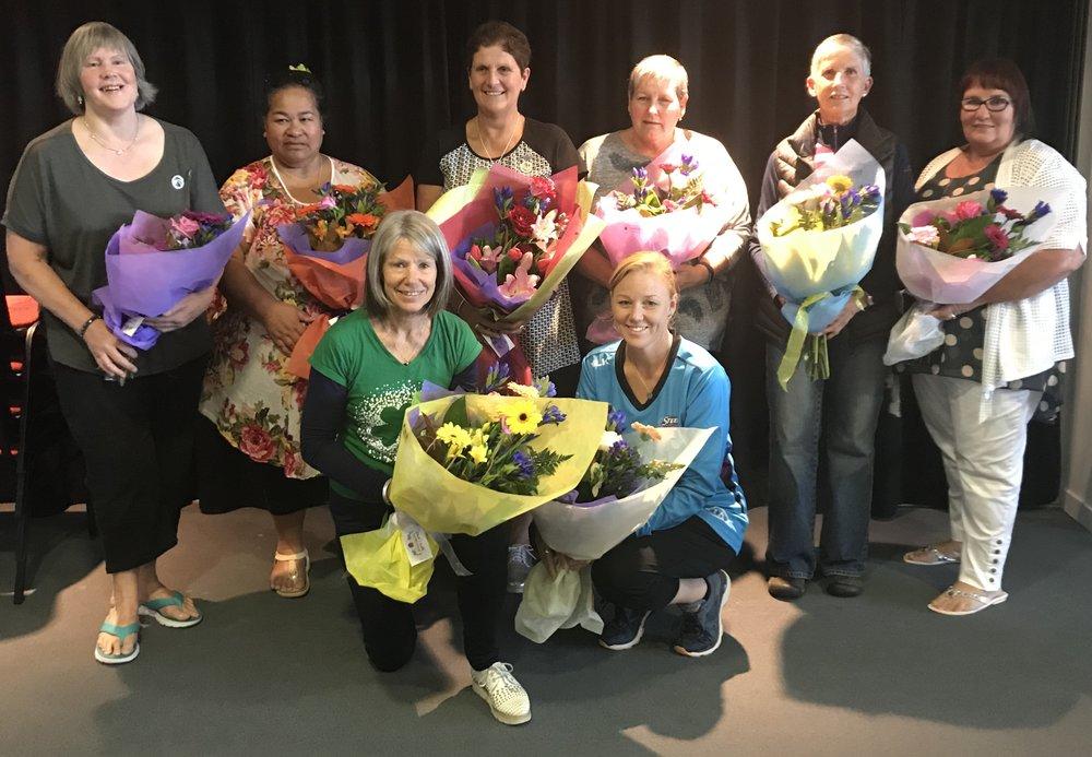 Pic (back from left): Diane Dickens, Ngami Prattley, Alison Cormack (all Eastern Southland), Liz Freeman, Cheryl Blair (South Otago), Anne Reid (Eastern Southland) and (front from left) Kerry Seymour (South Otago) and Lauren Piebenga (Dunedin). Photo: Netball South