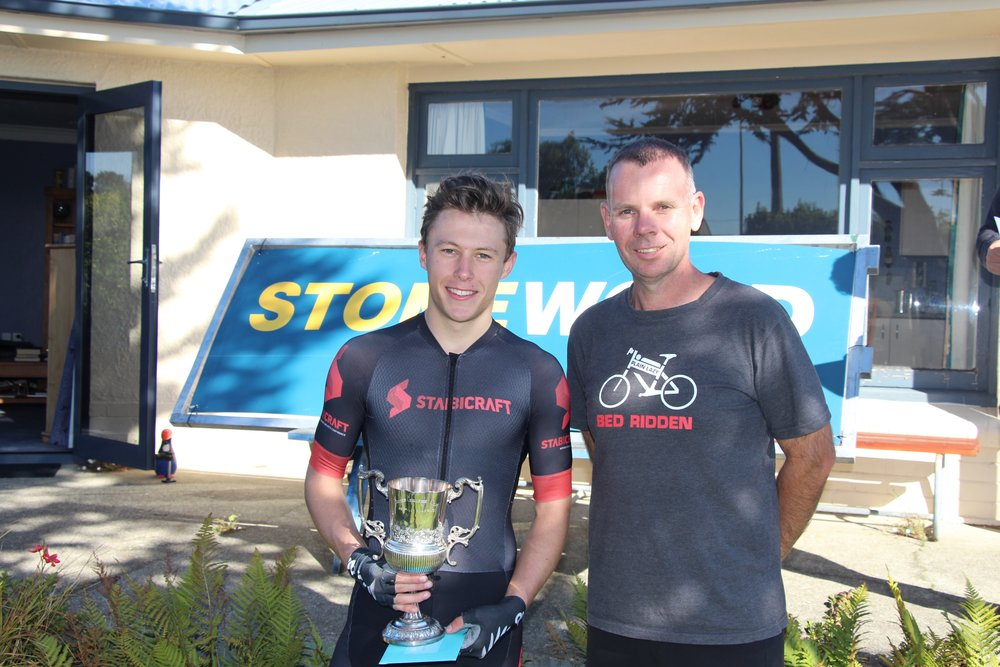 Junior worlds track representative Corbin Strong after taking fastest time honours in the Gore to Invercargill cycle classic, with race sponsor Brendan Akeroyd, of Stonewood Homes.