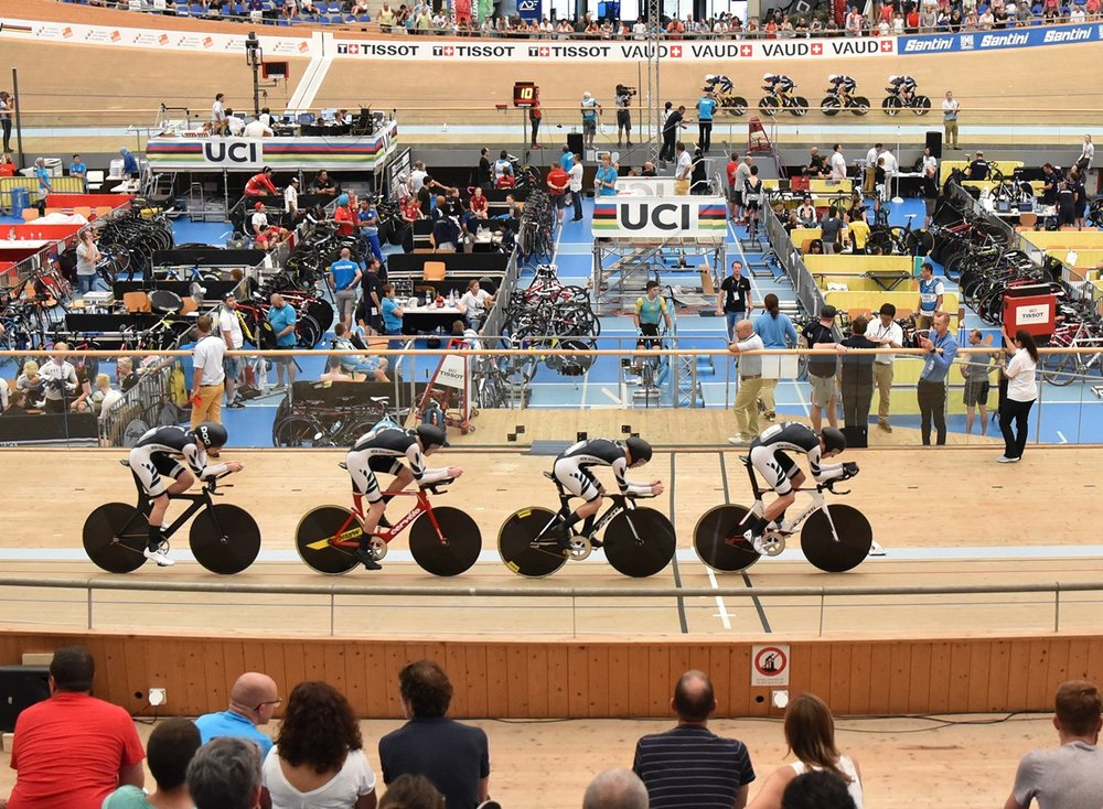 Photo: The New Zealand men's team pursuit on the podium and in action along with the women's team pursuit. Pic: ©klementdesign – UCI