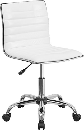 Low Back Designer Armless White Ribbed Swivel Task Chair