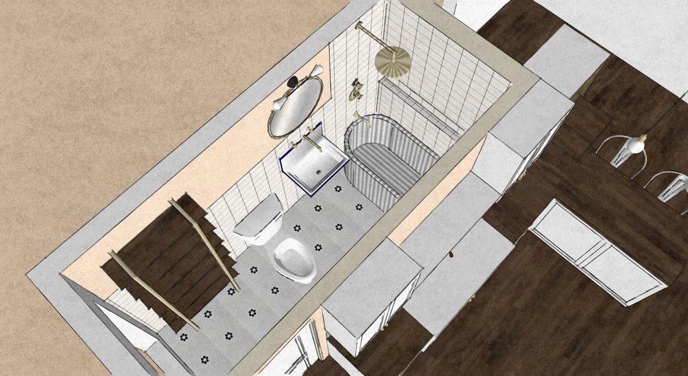 detroit interior design bathroom remodel rendering