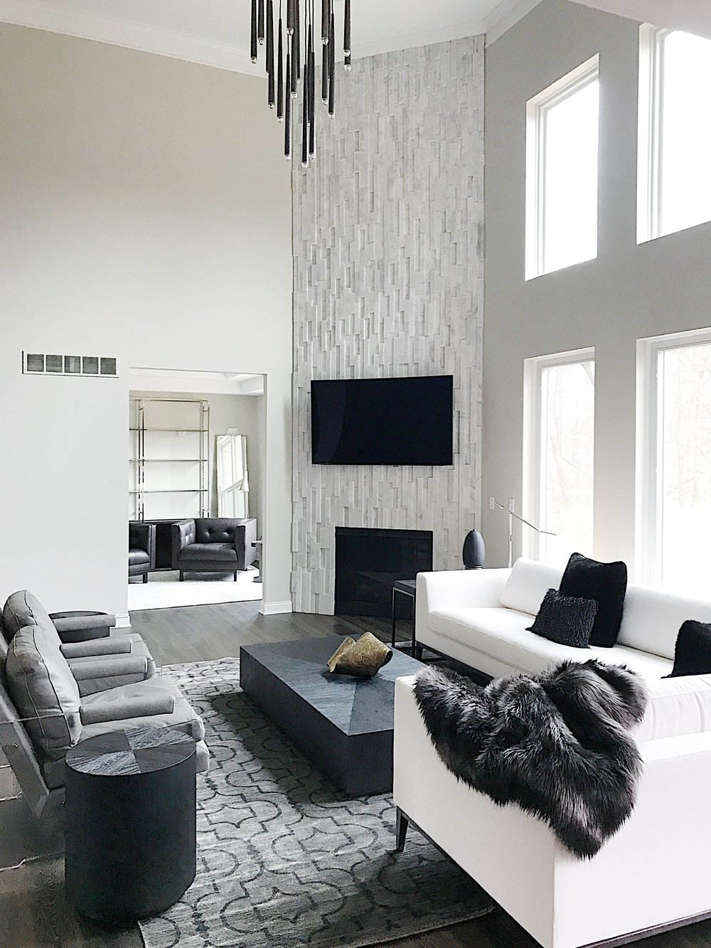 michigan family room interior design chandelier