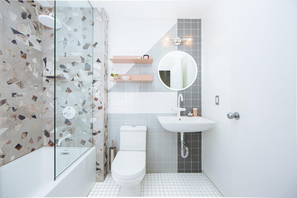 Detroit loft modern interior design bathroom remodel
