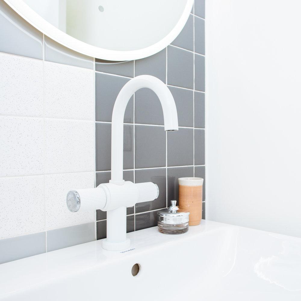 Futuristic design white chrome faucet