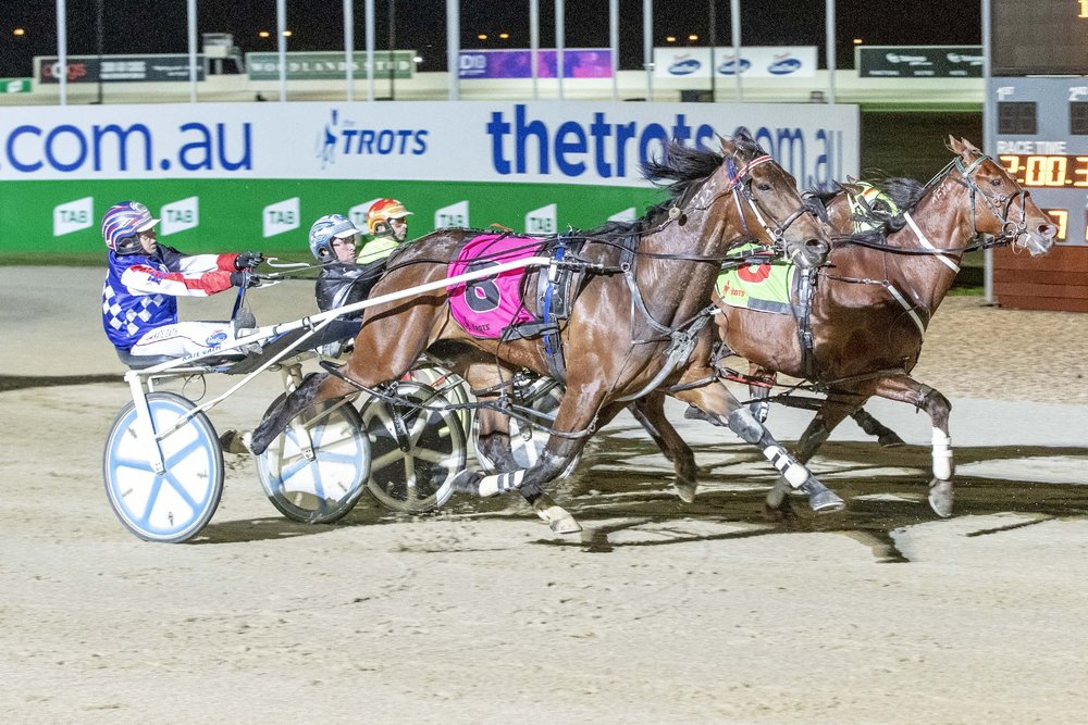 In-form mare Caitlyn Clarke and Kate Gath win the last race on night one of TAB ID18 at Tabcorp Park Melton.