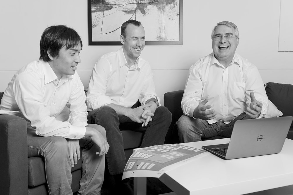 Takeshi Anthony Andrew laugh BW.jpg