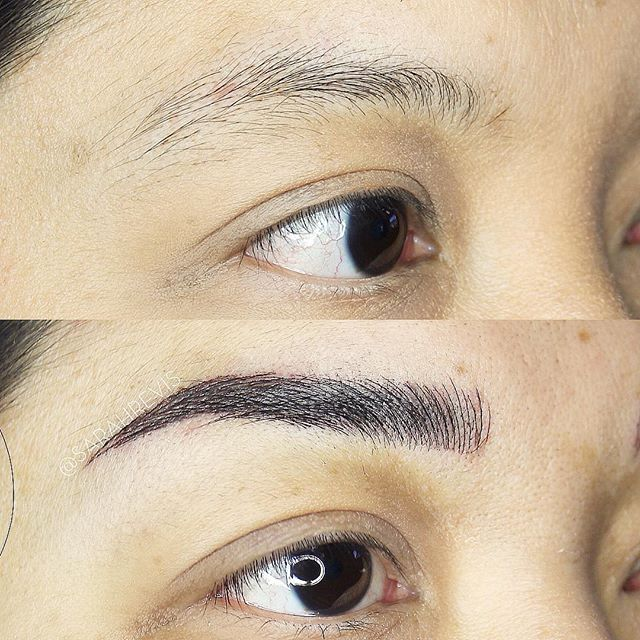 Before / After 2nd Session ❤️ I loveee this transformation!! @warhorsetattoo #berkeley #browmagic #microblading #sarahrevisbrows