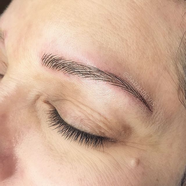 ✨SWIPE to see her BEFORE!!✨ @warhorsetattoo #berkeley #browmagic #microblading #sarahrevisbrows