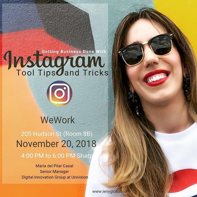 Opportunity by @latinasenny ・・・ Amigas! SAVE THE DATE! You Won't Want To Miss This Workshop! . . Want to start marketing your business? Opportunity awaits on Instagram!  With Instagram, you can use photos and videos to tell the story of your product or service in a highly visual and engaging way.  In this workshop you will get a fresh perspective on your content, your audience, your scheduling, and your strategy. Join Maria del Pilar Casal Senior Manager - Digital Innovation Group at Univision and Founder of Argentinian Language Rosario Idiomas and Online Academy Academia Emprendedora, Virginia Suarez Dratman to help you get started using Instagram to increase your sales, brand recognition, and online presence. They will cover basics to advance tricks like brainstorming ideas, choosing the right photos, and creating a posting schedule that keeps followers wanting more.  Here are some of the topics we will cover: ✔ How to Get followers ✔ Close sales via Instagram Direct ✔ Connect with Influencers ✔ Schedule and automate publications and stories  and many more... Space is limited reserve your spot now!  Click in Bio🔝  Share the love, share or tag a friend! 💞💞💞 #lenyglobal #latinasenny #instagramforbusiness @mariapilarcasal