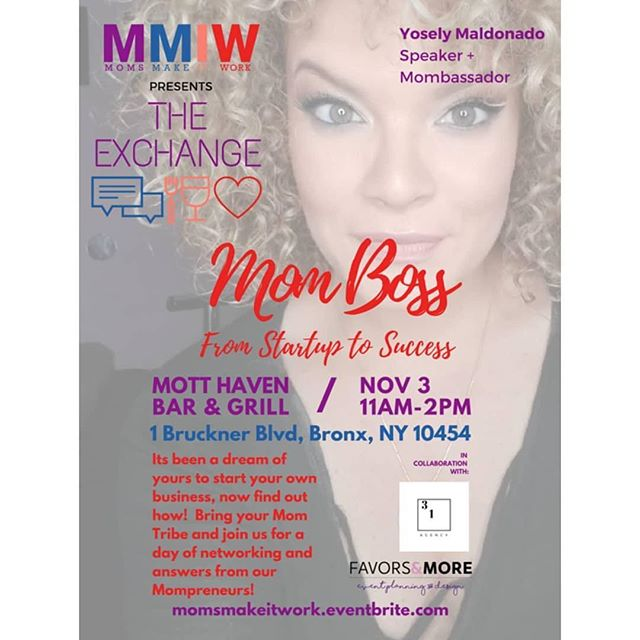 GUESS WHOSE A SPEAKER THIS SATURDAY? @_missyosi_ at @motthavenbar for @momsmakeitwork !! 🙋‍♀️🙋‍♀️🙋‍♀️🙋‍♀️🙋‍♀️ Speaker Alert🗣 Yosely Maldonado is a super mompreneur who has managed to find her way into business ownership while raising a 16 and 9 year old. * * In 2007 she earned her Business Management Degree from Fairleigh Dickinson University followed by her Event Planners Certification in 2010. * * Soon after, she established and grew her own business, Favors & More, to become a well sought after event planner and coordinator. * * Today she is known for her ability to teach interactive and informative workshops to groom those who want to enter into the ever-growing event planning and coordination fields. When it comes to her events, she loves having the creative freedom that allows her clients' vision to come to life. At times, events surpass even her own expectations! * * In addition to being a mom and successful business woman, Yosi is passionate about helping others reach their potential. * * Come hear Yosi talk about how she is making it work as a #MomBoss, this Saturday on November 3rd! #linkinbio