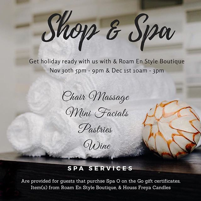 Holiday Event by @spaoonthego ・・・ Who is ready for the Holidays?! . Nov 30th 5pm - 9pm get holiday ready with us at the Spa in collaboration with @roam.en.styleboutique and @houss.freya  Spa Services such as Chair Massage, Mini Facials, Pastries, and Wine will be provided to those who purchase Spa O on the Go Gift Certificates & any clothing item(s) from @roam.en.styleboutique & @houss.freya candle(s) 💆🏽♀️👗🛍🕯 #Shopping #holidays #wine #pastries #holidayfashion #roamenstyleboutique #spao #spaoonthego #spaonthego #chairmassage #expressfacials #fun #gathering #connecting #network #spaevent #spa #secaucus #northjersey #unioncity #jerseycity #hoboken #hasbrouckheights #lodi #hackensack #littleferry #woodridge