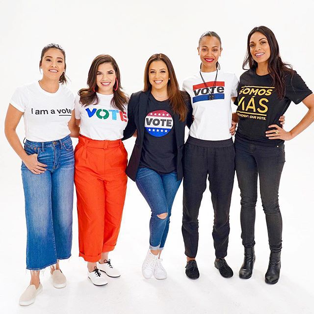 """VOTE • VOTE • VOTE  Inspired by this sisterhood! 🇺🇸💫🇺🇸💫🇺🇸 """"When you go to the polls, bring your family, bring your neighbors, bring your tios, tias, cousins, bring your nannies, too. Bring your teachers. Bring your enemy."""" - #ZoeSaldana encouraging people to vote. Tag who you're bringing to the polls tomorrow! And click the link in our bio to read why it's important for Americans AND Latinos to vote in the #midterms 🇺🇸🇺🇸🇺🇸"""