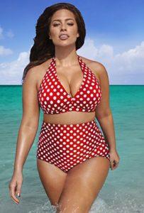 Swim Sexy The Diva White Dot High Waist Bikini   $43.40