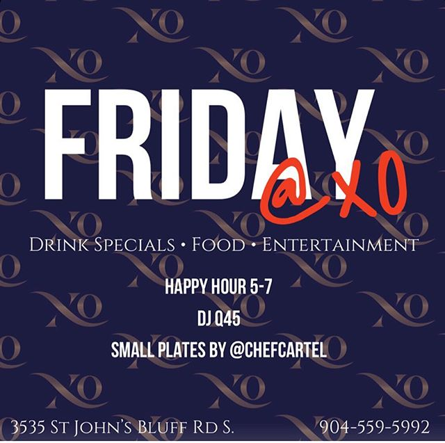 Tonight come and enjoy some drinks, music and of course food served by @chef.cartel.  VIP sections available. Contact to make reservation...see you there. . . . #xo #xolounge #xopremierlounge #xojax #xojackaonville #jacksonvillenightlife #904 #904happyhour #nightout #nightlife