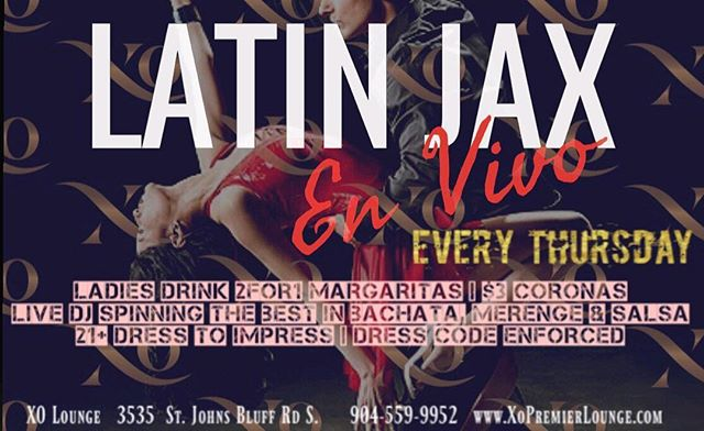 This Thursday. Latin Jax en Vivo continues at XO. Ladies come and get you 2for1 Margaritas plus $3 Coronas.  Call or message to make table reservations. . . . #xo #xolounge #xopremierlounge #xojax #xojackaonville #jacksonvillenightlife #904 #904happyhour #nightout #nightlife