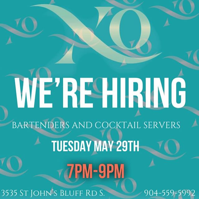 If you know anyone looking to join our team and would be a good fit, have them contact @travvvvv21. We are looking to hire on a few more bartenders and cocktail servers. . . #xo #xolounge #xopremierlounge #xojax #xojackaonville #jacksonvillenightlife #904 #904happyhour #nightout #nightlife