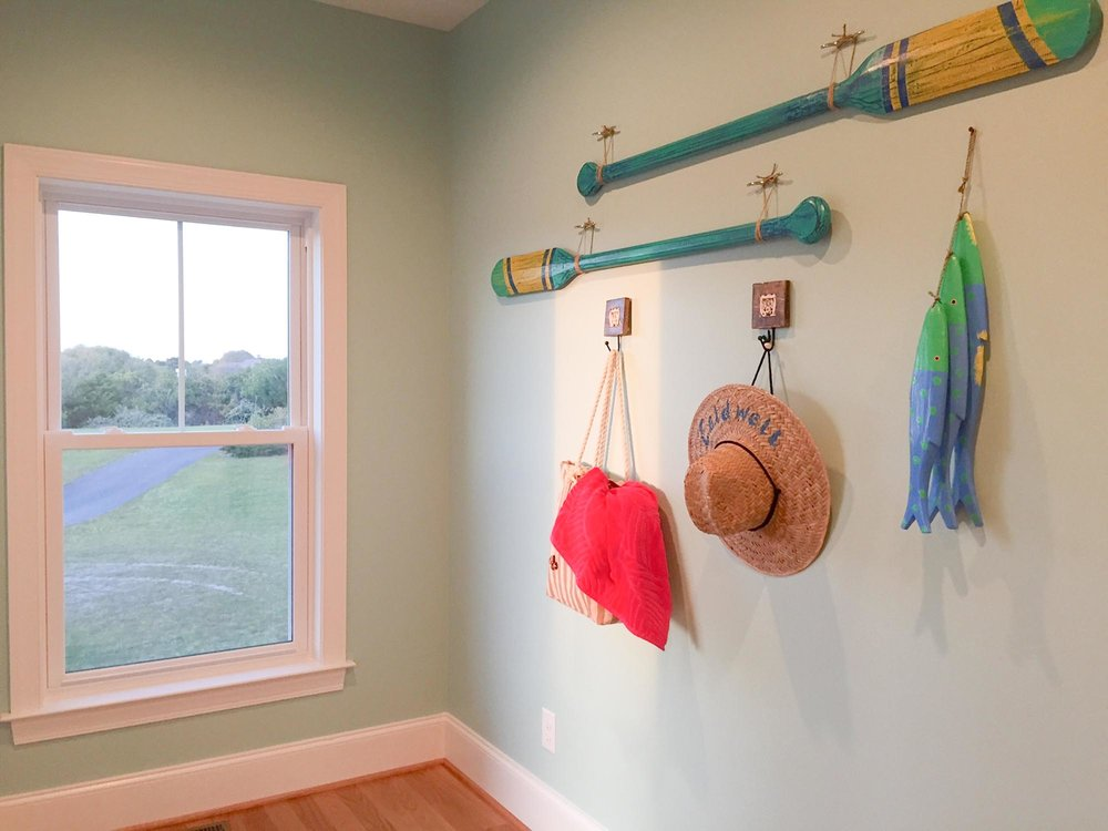 Hallway with beach themed decorations
