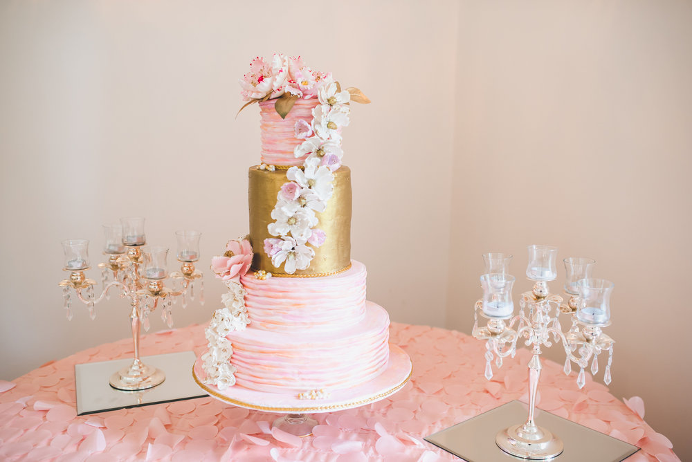 Blush-Gold-Floral-Wedding-Cake