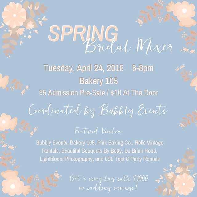 We're super excited to have a booth at the @wilmingtonweddings spring bridal mixer this Tuesday! Grab a ticket from their page and come out to see us and some other awesome vendors!!
