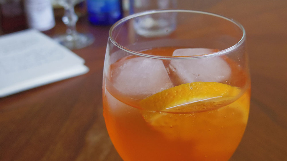 The Aperol Spritz is a common happy hour cocktail in Italy.