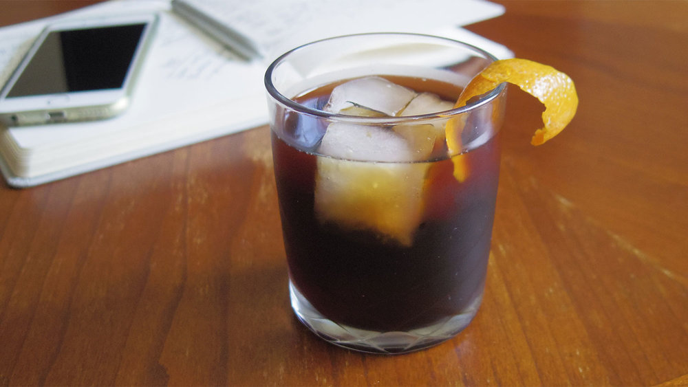 Drambuie plays very nicely with cold brew coffee and the sweet citrus of orange peel.