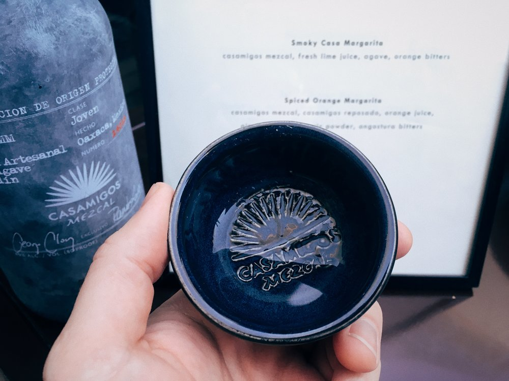 Casamigos mezcal, with a beautiful hand-finished bottle, and ceramic copitas.