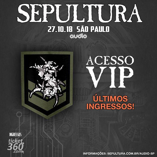 🇧🇷 São Paulo! Últimos ingressos MEET & GREET para o show de SP dia 27.10 Além de trocar ideia com os caras você ainda leva um kit para casa. Link na bio! #sepultura #machinemessiah