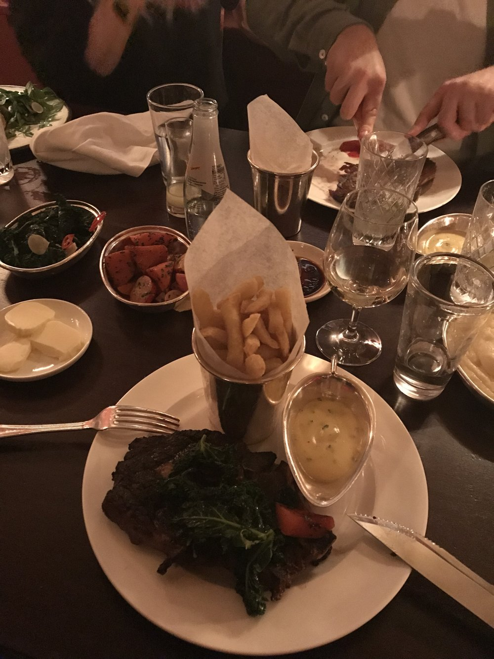 Most of us took the steak for our main - the bearnaise sauce was delicious!