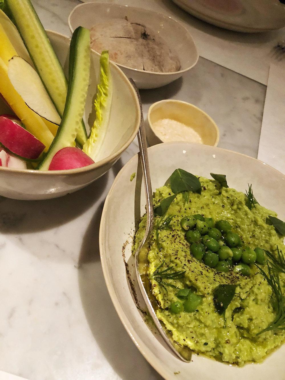 Green chickpea hummus: thai basil, fresh pita and crudites