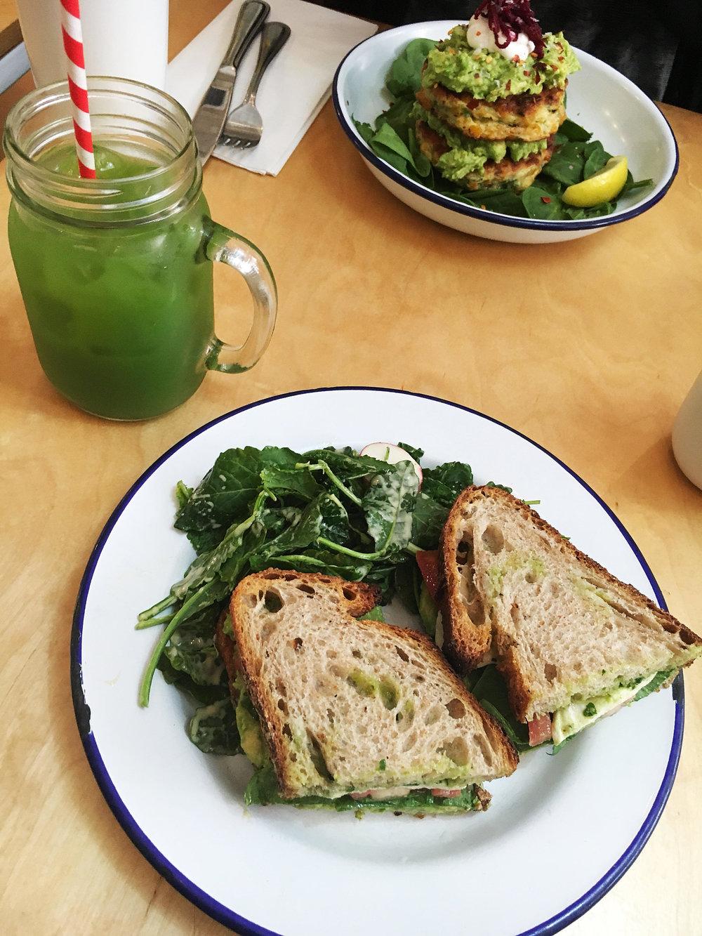Verona sandwich: fresh tomato, avocado, watercress, mozzarella with basil pesto on bien cuit sourdough w/ side salad