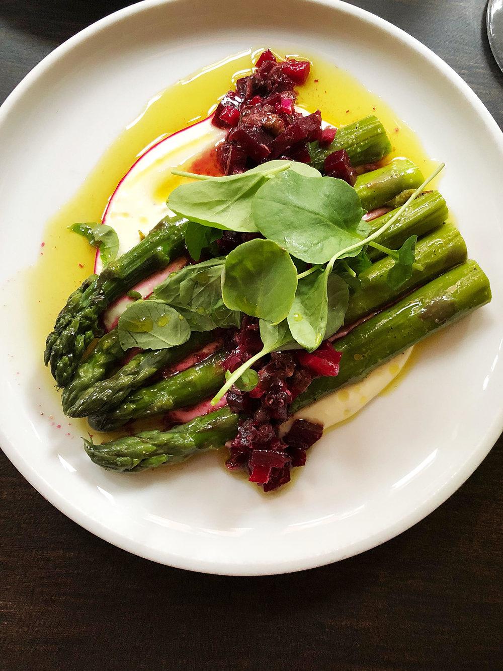 Aspragus:feta, beet relish, watercress