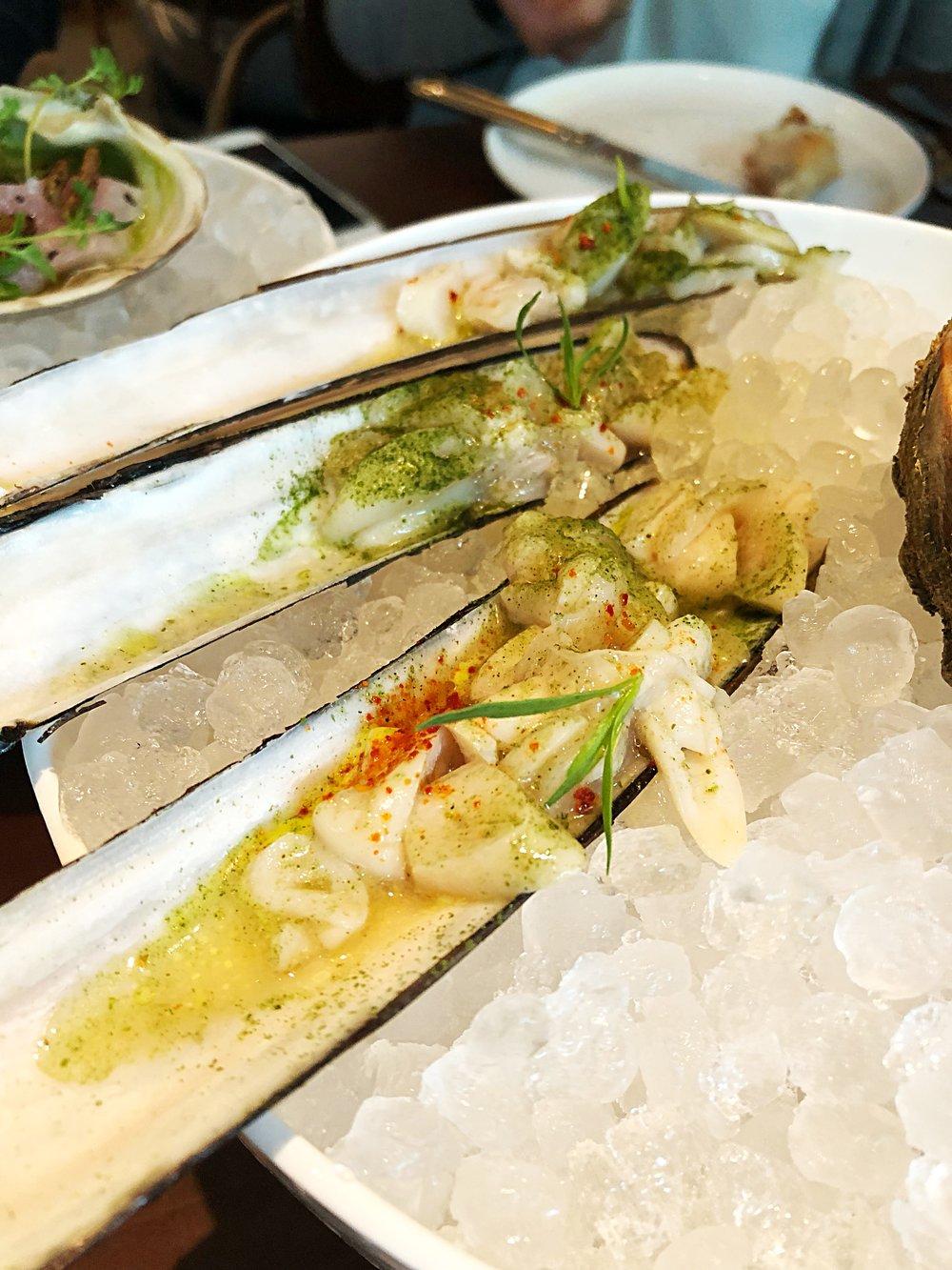 Razor clam, tarragon, saffron
