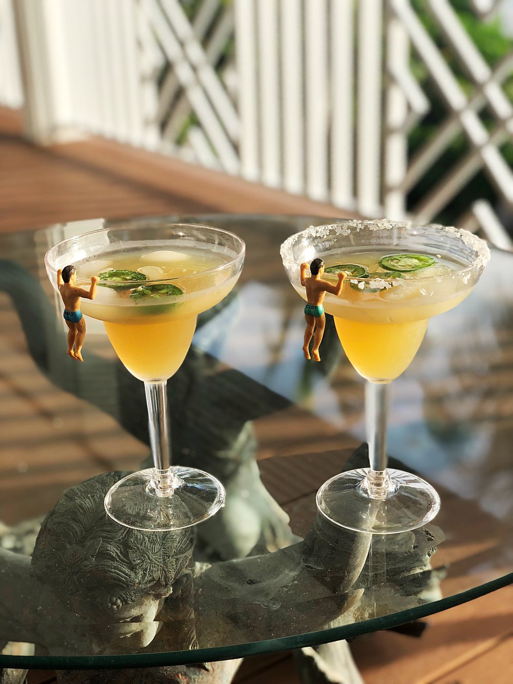 TB spicy margs: jalapeno infused tequila, grand marnier, lime, simply syrup