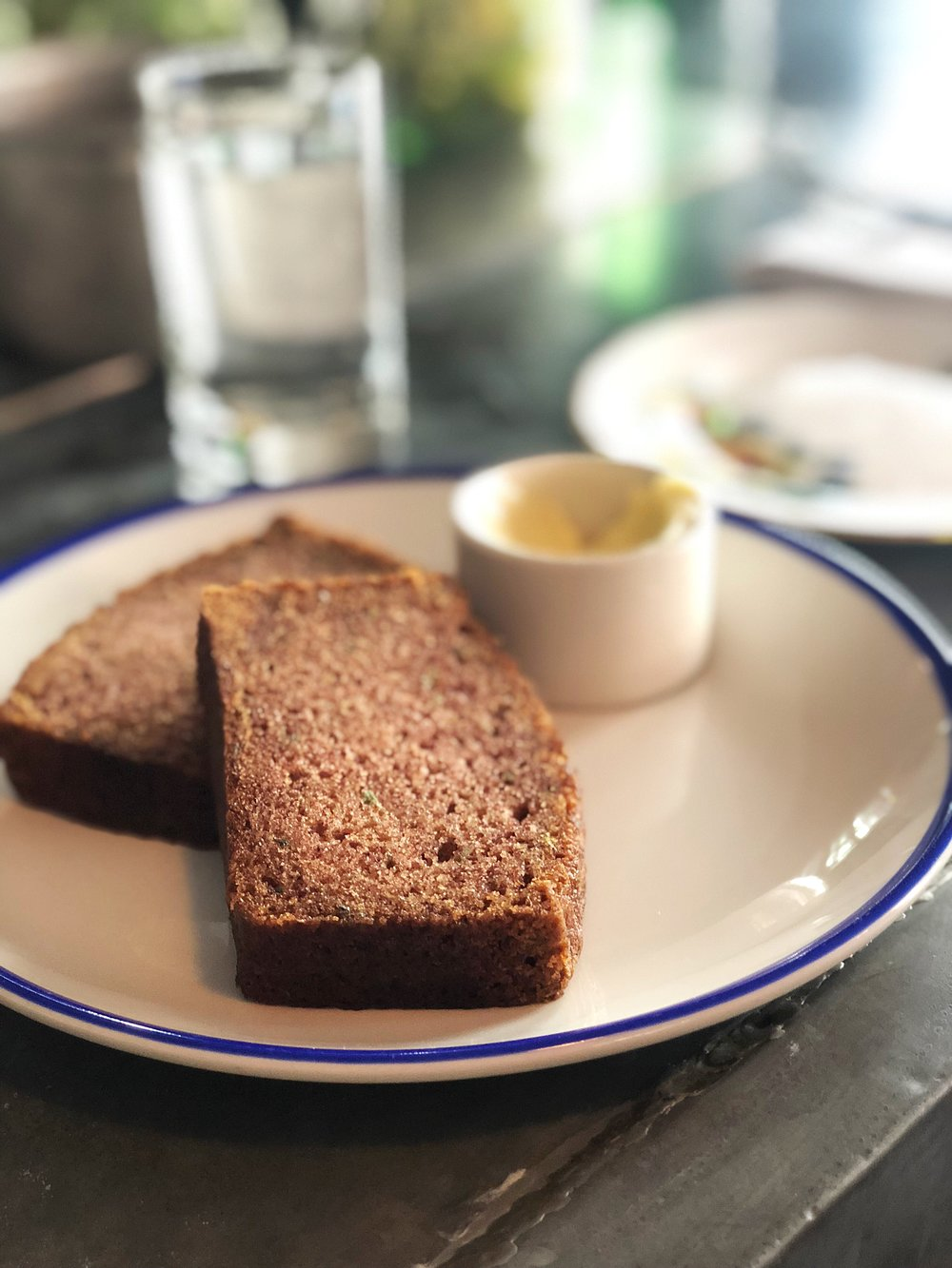 Zucchini bread with honey butter